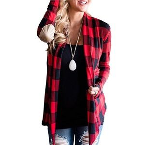 Sweaters - Flannel Open Front Cardigan